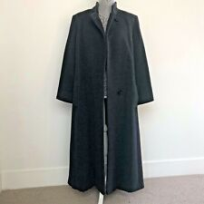 Dana Buchman Charcoal Gray Black Long 100% Wool Winter Coat Fully Lined EUC