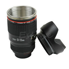 New Camera Caniam EF 28-135mm Lens Cup Travel Mug Coffee Stainless Steel Black