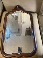 "Antique Dark Brown Wood Framed Mirror - 16.5"" W x 28.5"" L x 1.25"" D"
