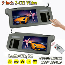 Pair 9inch 2-CH Car Sun Visor LCD Monitors Rear View Mirror For DVD/VCD/GPS/TV