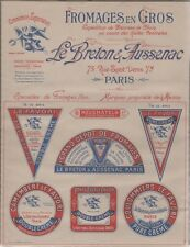 """""""FROMAGES LE BRETON & AUSSENAC""""Affiche d'intérieur originale avant 1900 21x27cm"""
