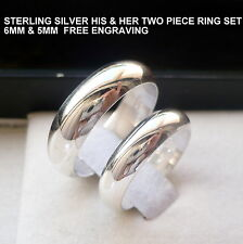 925 STERLING SILVER HIS AND HER WEDDING BAND SET/