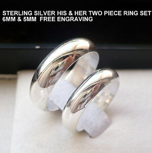 925 Sterling Silver His Her Wedding band ring set 5 & 6mm size 5-14 free engrave