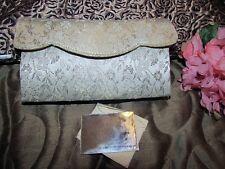 vtg 50s Ivory Gold Metallic Brocade Evening Bag w/ Mirror Purse Handbag Clutch