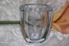 Strombergshyttan/Stromberg Signed Glass/Crystal Vase.Engraved Butterfly Small