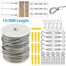 15M/30M Stainless Steel Wire Rope Cable Hooks Hanging Kit Garden Railing Roll