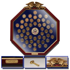 Complete 24k Gold Plated State Quarter Set in a stunning Wood Octagonal Frame
