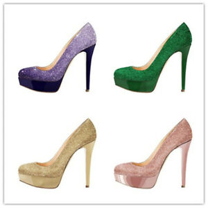 Womens Sequins Platform Super High Heels Round Toe Stilettos Shoes Pumps Sandals