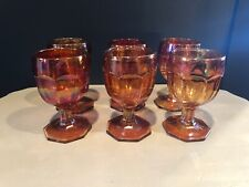 Colonial Water Goblet  by Imperial Glass Ohio Orange Vintage Carnival Glass