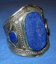 "Bracelet Cuff Lapis Afghan Kuchi Tribal Alpaca Silver 3"" dia"
