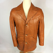 Hollywood Gangster Vintage 70s Light Brown Leather OG Pimp Blazer Coat Jacket M