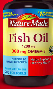 Nature Made Pesce Olio 1200 MG 200 Capsule Morbide Omega 3 Supporto Sano Cuore