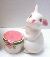 Vintage 1980's Avon Bunny Bright Rabbit Votive Candle Holder / Egg Basket - Mint