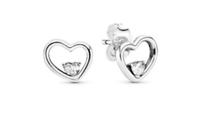 GENUINE PANDORA Sterling Silver Asymmetric Hearts of Love Stud Earrings 297813CZ