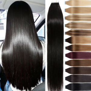 Tape In 100% Real Remy Human Hair Extensions Invisible Skin Weft Natural Hair 18