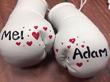 Wedding White or Silver Mini Boxing Gloves Painted with Names of your choice