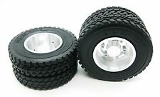 2p x 1/14 Rear aluminum wheels rim Tires for RC Tamiya 1/14 Tractor Truck silver