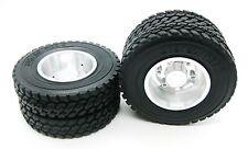 2p x 1/14 Rear aluminum wheels rim Tires for RC Tamiya 1/14 Tractor Truck silver