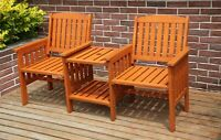 WestWood Garden Love Seat Wooden Bench 2 Seater Patio Twin Chair With Table LS02