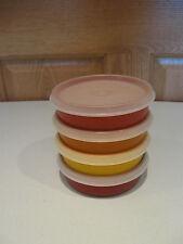 TUPPERWARE 4 harvest colors little wonder 6 oz snack bowls #1286 with sheer lids