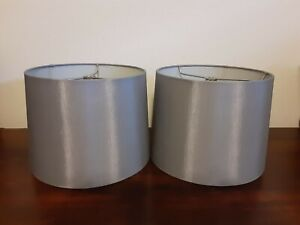 "2 Gray Lamp Shades 9"" x 7.5"" x 10"" Cloth, Round, Slightly Tapered"