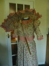 4 PIECE VICTORIAN COSTUME INCLUDING UMBRELLA SIZE10/12