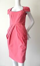 NATASHA GAN rrp $249.00 Size 8 US 4 Cap Sleeve Pink Cotton Sheath Dress