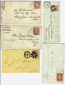 US FIVE (5) 19th CENTURY COVERS, TWO (2) with FANCY CANCELS!!
