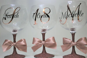 Personalised Glitter Gin Glass Monogram Birthdays Hen Gift 20 Colours Rose Gold