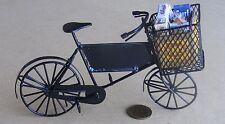 Cesta de Bicicleta 1:12 Negro de entrega y Caja de Comestibles Accesorio de bicicleta de Casa de Muñecas