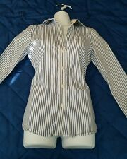 American Eagle Womens Shirt S Sz 0 Button Down Long Sleeve Blue Stripe Favorite