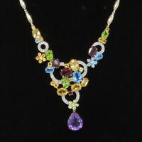 NYJEWEL Brand New 14K Gold Amazing Diamond Multi Gemstones Teardrop Necklace