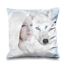 White Wolf and Woman Fantasy Art Faux Silk 45cm x 45cm Sofa Cushion