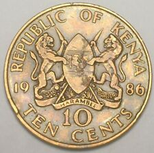 1986 Kenya Kenyan 10 Cents Moi Lions in Arms Coin VF+ Edge