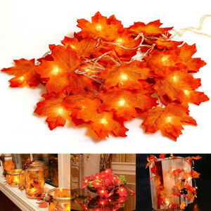 10/20LED Autumn Fall Maple Leaf Garland Fairy Lights String Lamp Garden Decor