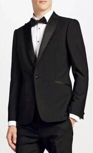 Kin By John Lewis Duckett Slim Fit Peak Dress Suit Jacket - Black / UK 38R / Tux