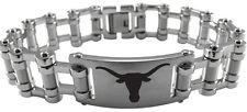 UNIVERSITY TEXAS LONGHORNS UT * Stainless Steel Bike Chian Bracelet w/Logo  NCAA