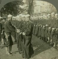 """WW1 Stereoview. Parade Ground Inspection """"Parade Rest"""" - Naval Training Station"""