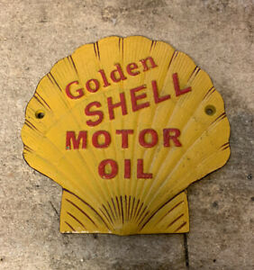 Shell Oil Cast Iron Wall Plaque Vintage Advertising Golden Shell Motor Oil Sign