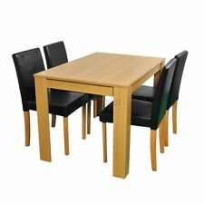 FoxHunter Wooden Dining Table and 4 PU Faux Leather Chairs Set Furniture Oak New