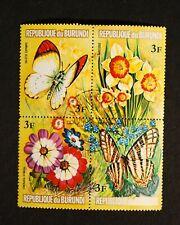 1973 Scott #437 Burundi Butterflies and Flowers Plate Block Used
