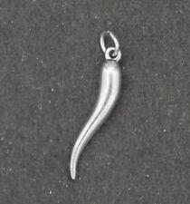 Sterling Silver Italian Horn Charm Pendant 3D Good Luck cornicello cornetto