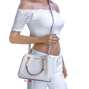 Michael Kors Teagen Messenger Small Xbody Bag Teagan Pink Powder Blush Vanilla