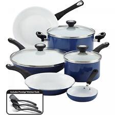 12-Piece Blue Ceramic Nonstick +Lids  Durable Aluminum Home Kitchen Cookware Set