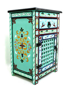 Moroccan Nightstand Table Turquoise Blue Moucharabi Painted Authentic Home Decor