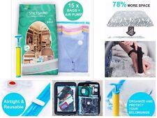 Space Saver Saving Seal Vacuum Clothing Storage Compressed Organizer Bags W/PUMP