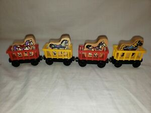 Thomas & Friends Wooden Railway 8x Lot: Carousel Horses & Circus Cars