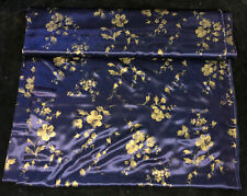 New listing Vintage Blue Silk Fabric Asian Floral Hargro Fabrics Gold Flowers 6 Yards 8604