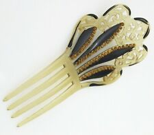Mantilla Hair Comb Vintage Brown & Rhinestone Small Ladies Womens Plastic
