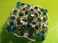 LOVELY SPARKLY SILVER TONE BLUE DIAMANTE DESIGN PIN BROOCH CORSAGE  #31